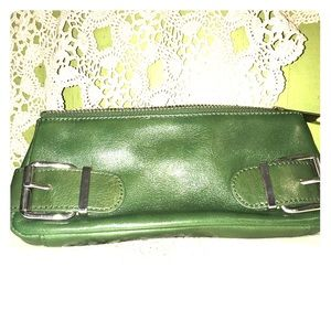 Vintage Green clutch with silver buckles.